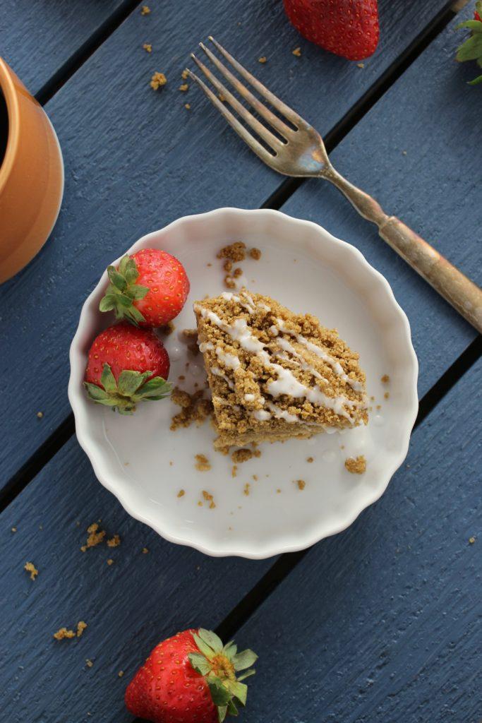Perfect Gluten Free and Vegan Coffee Cake Fork Strawberries