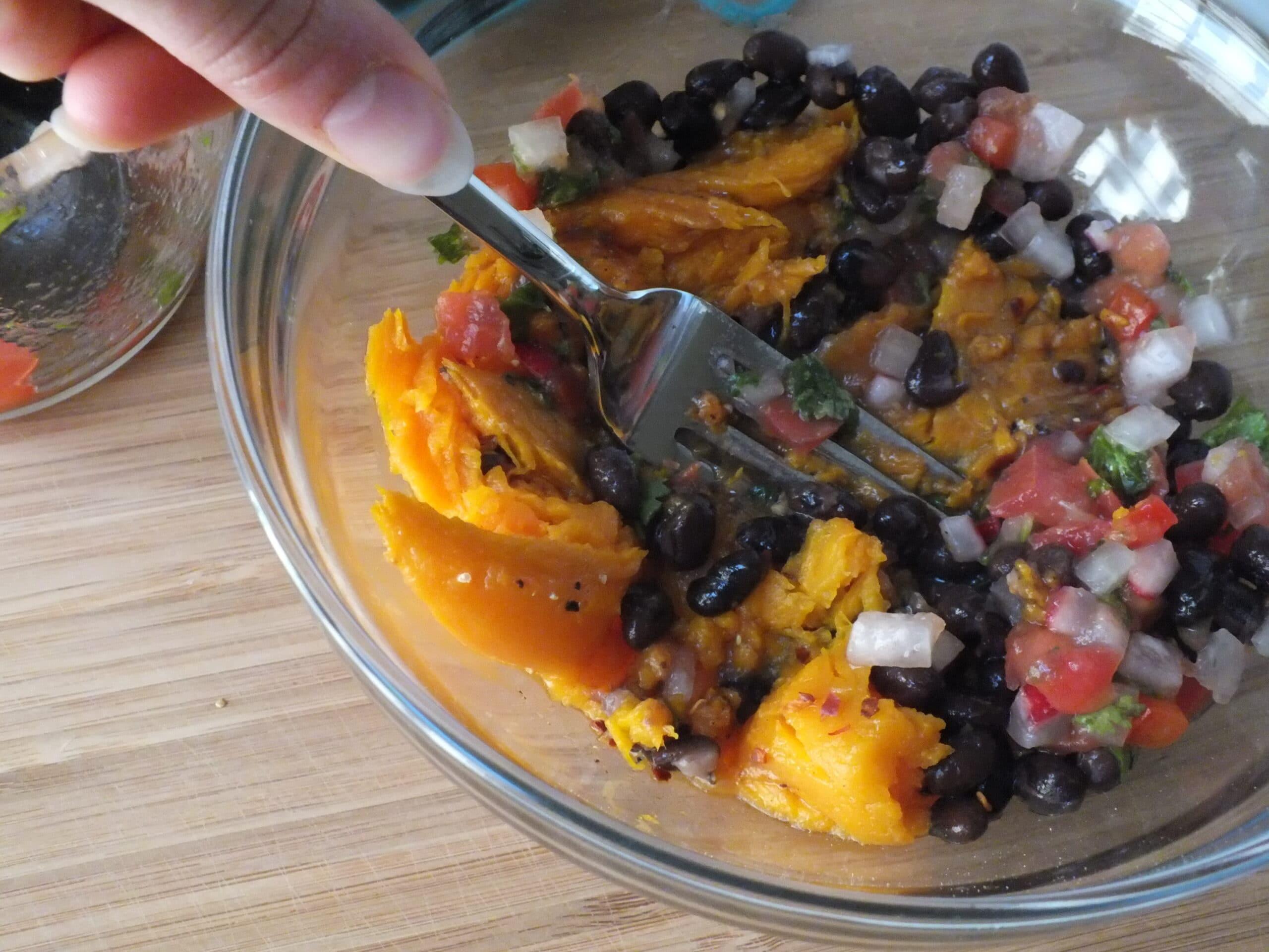 Sweet Potato Bites Mixing Bowl Fork