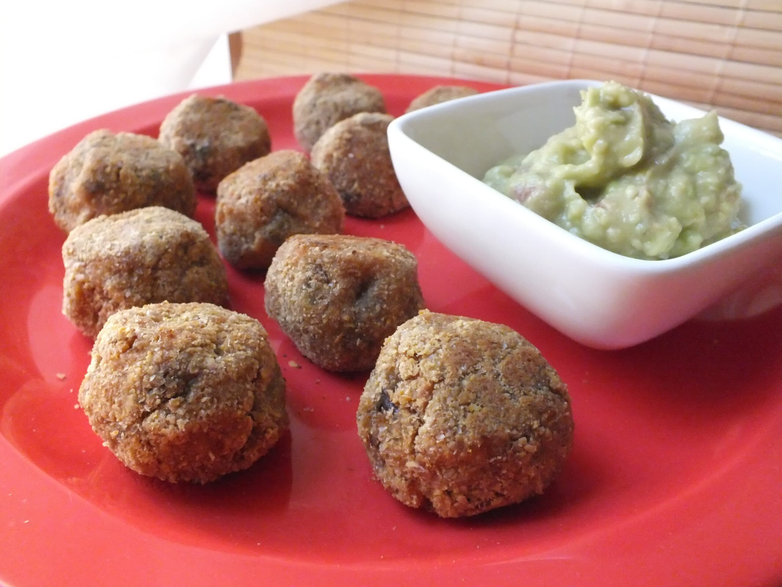 Sweet Potato Bites on Plate with Dip