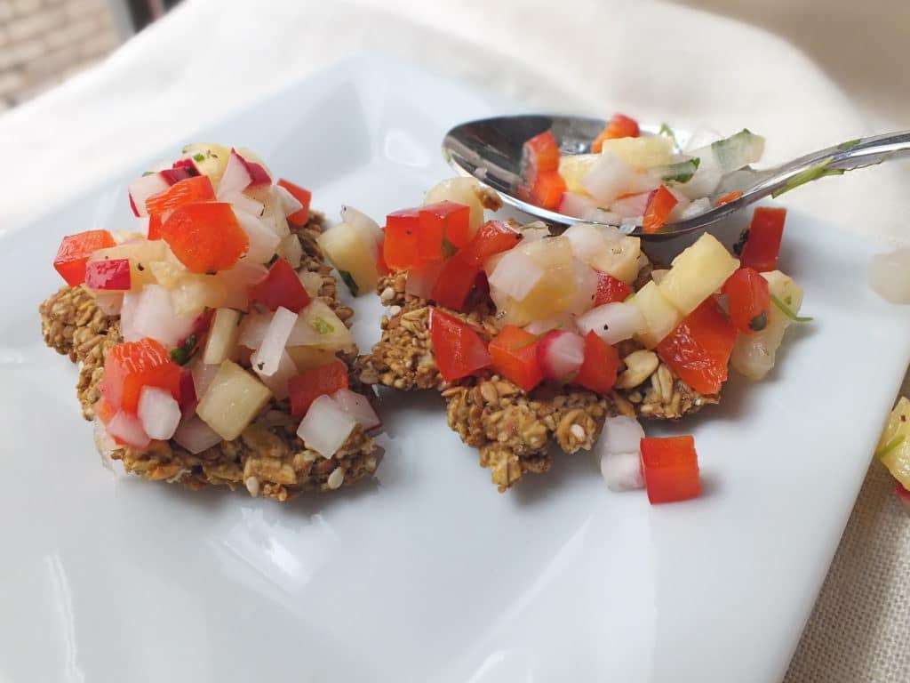Pineapple Salsa and Flax-Oat Crackers [Vegan, Gluten-Free]