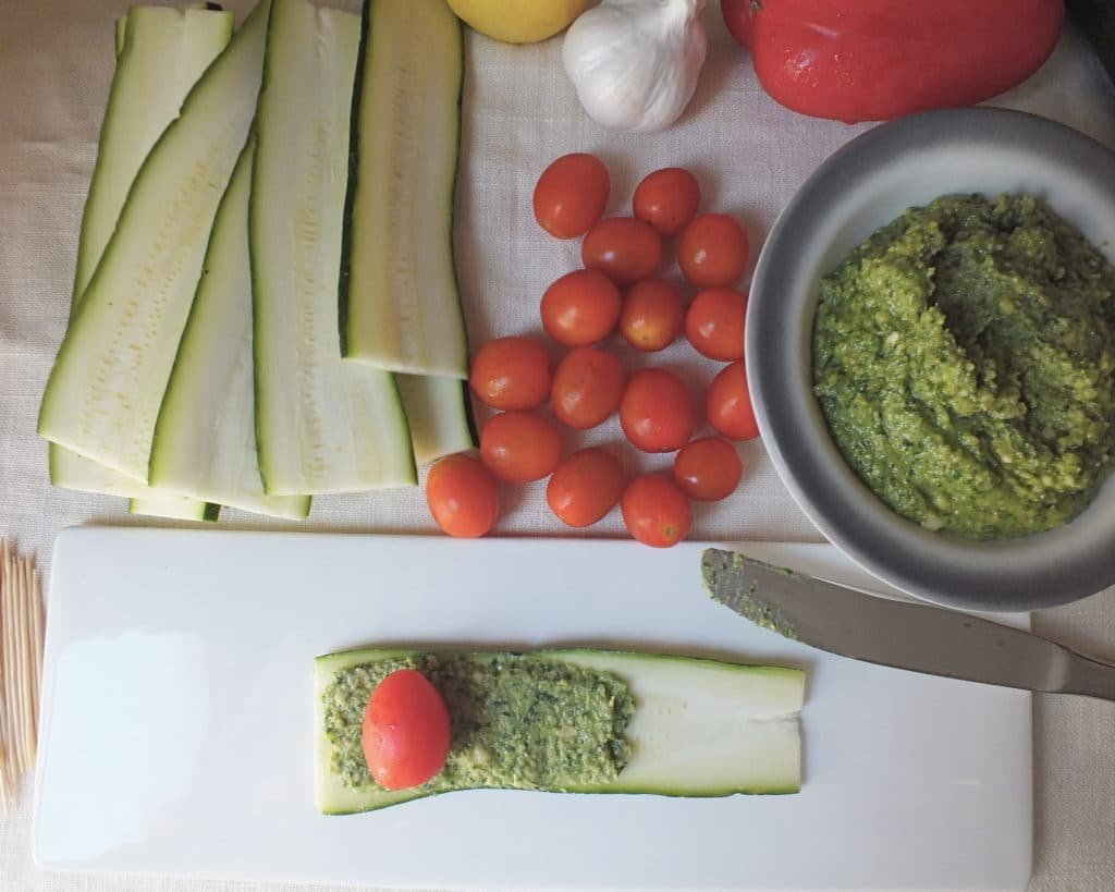 Zucchini Pesto Roll-Ups Courgettes Tomatoes Knife