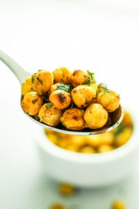 Roasted Garlic Chickpeas – the BEST snack. I try to bake a double batch every weekend to keep on hand all week. Perfect for late night salty cravings.