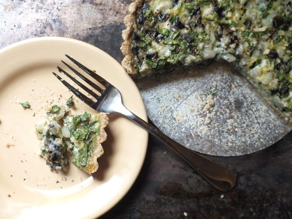 Bok Choy and Mushroom Tart Plate and Fork