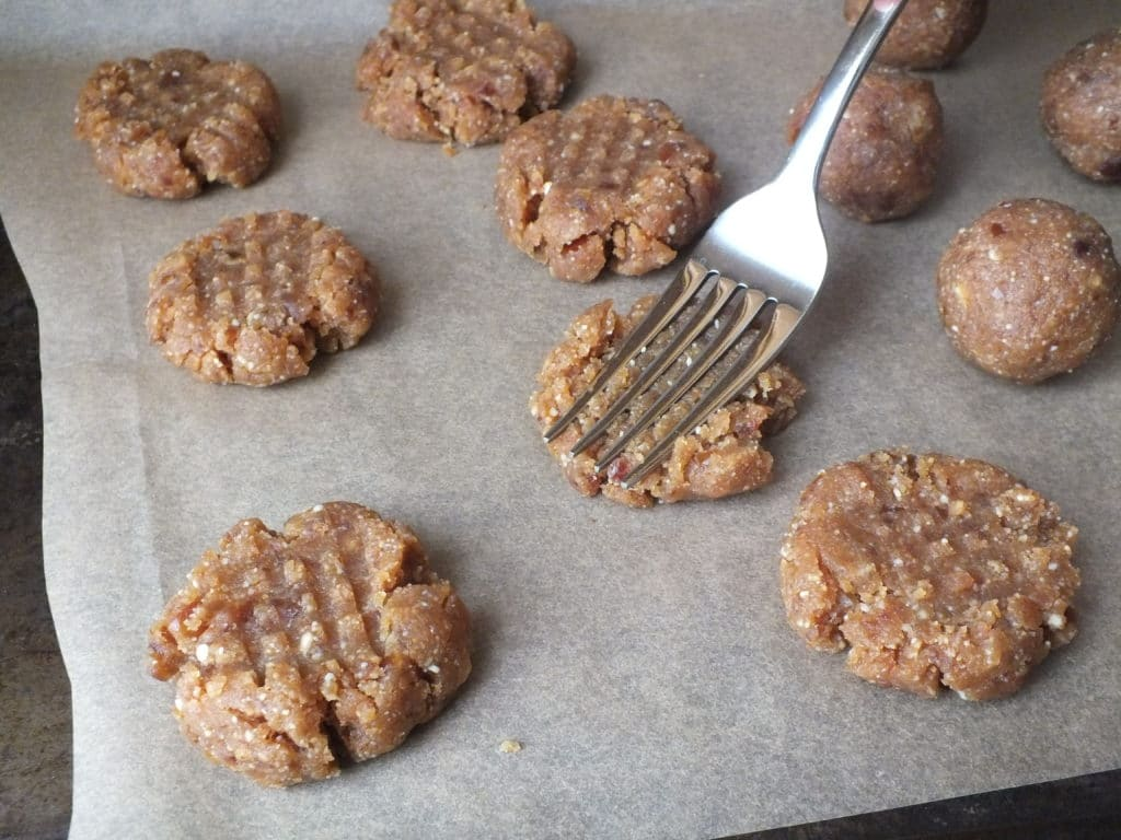Raw Peanut Butter Cookies Fork Baking Paper