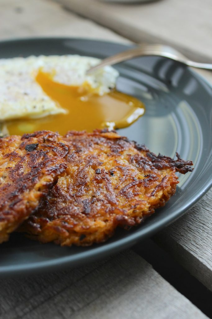Sweet Potato Hash Browns on plate with fork