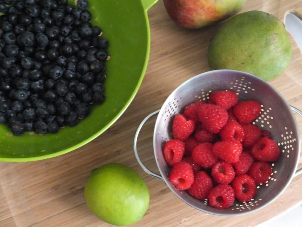Raspberries Blueberries Apple Lime