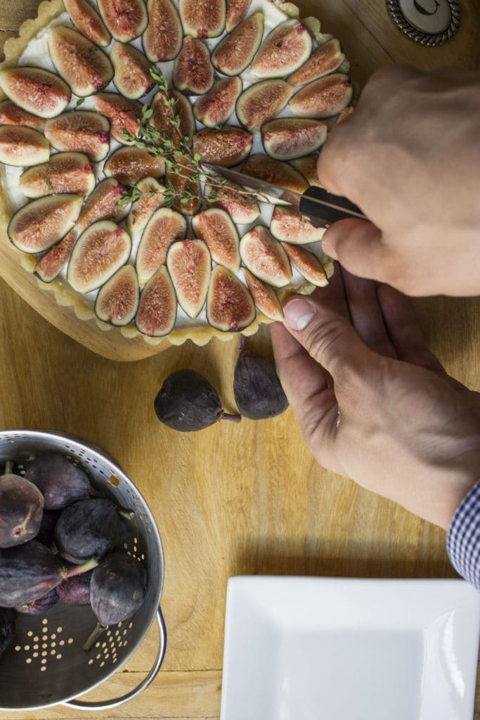 Fig and Goat Cheese Tart Knife Cutting