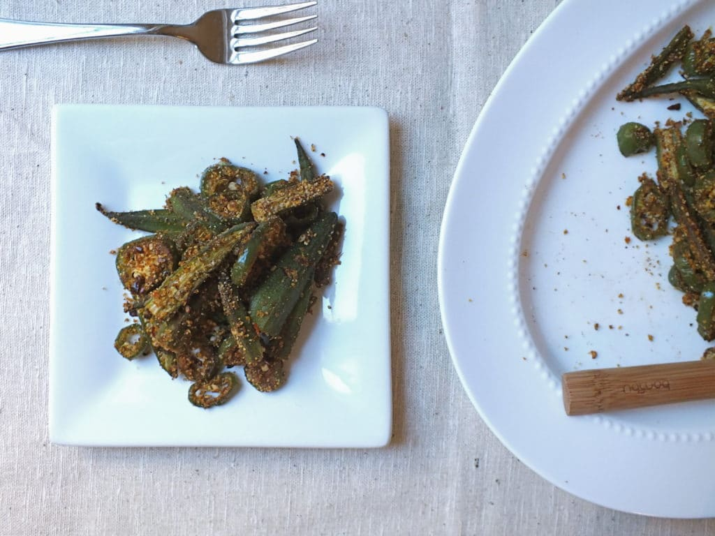 Spicy Oven-Roasted Okra on Plate with Fork