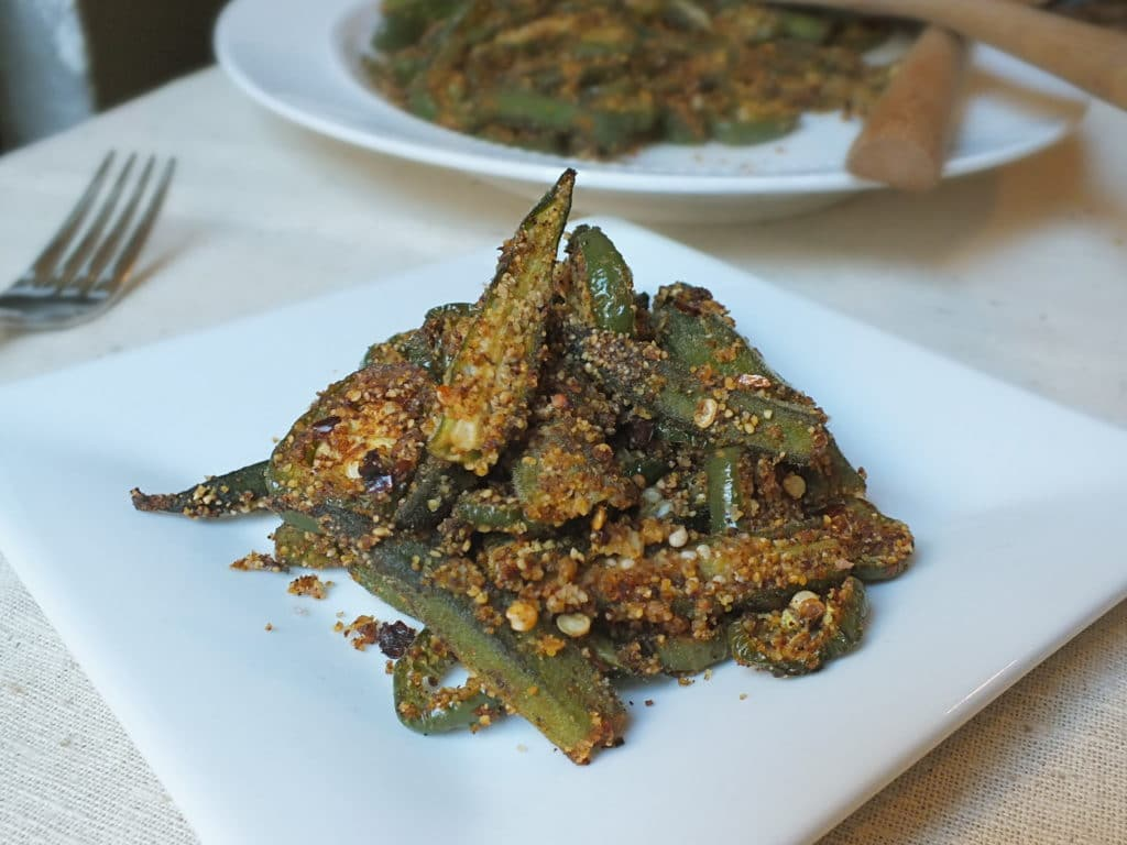 Spicy Oven-Roasted Okra on plate fork