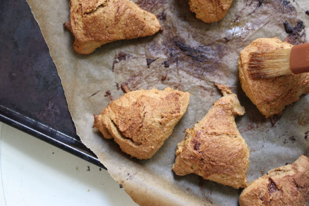 Spiced Pumpkin Chai Scones on Oven Tray
