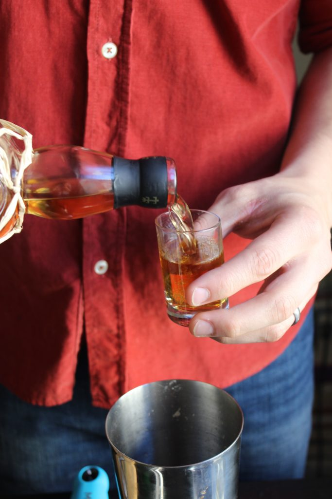 Pouring Shot of Rum