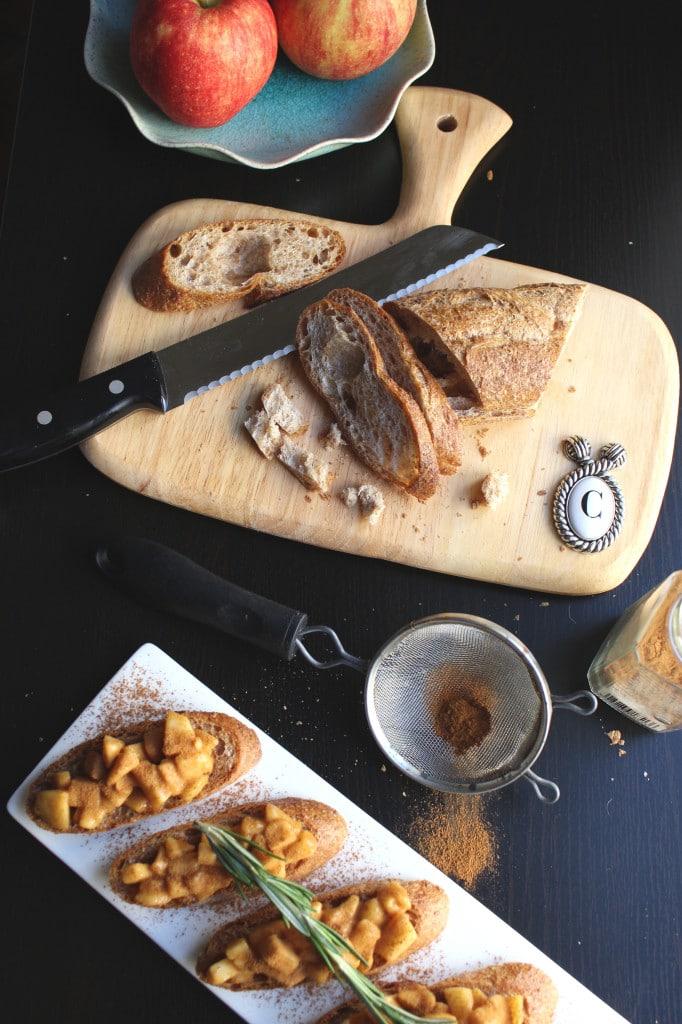 Apple Pie Bruschetta Chopping Board Apples Knife Bread