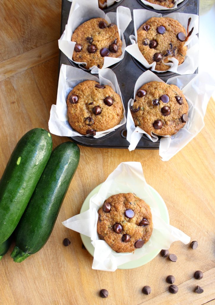 5 Chocolate Chip Zucchini Muffins Courgettes