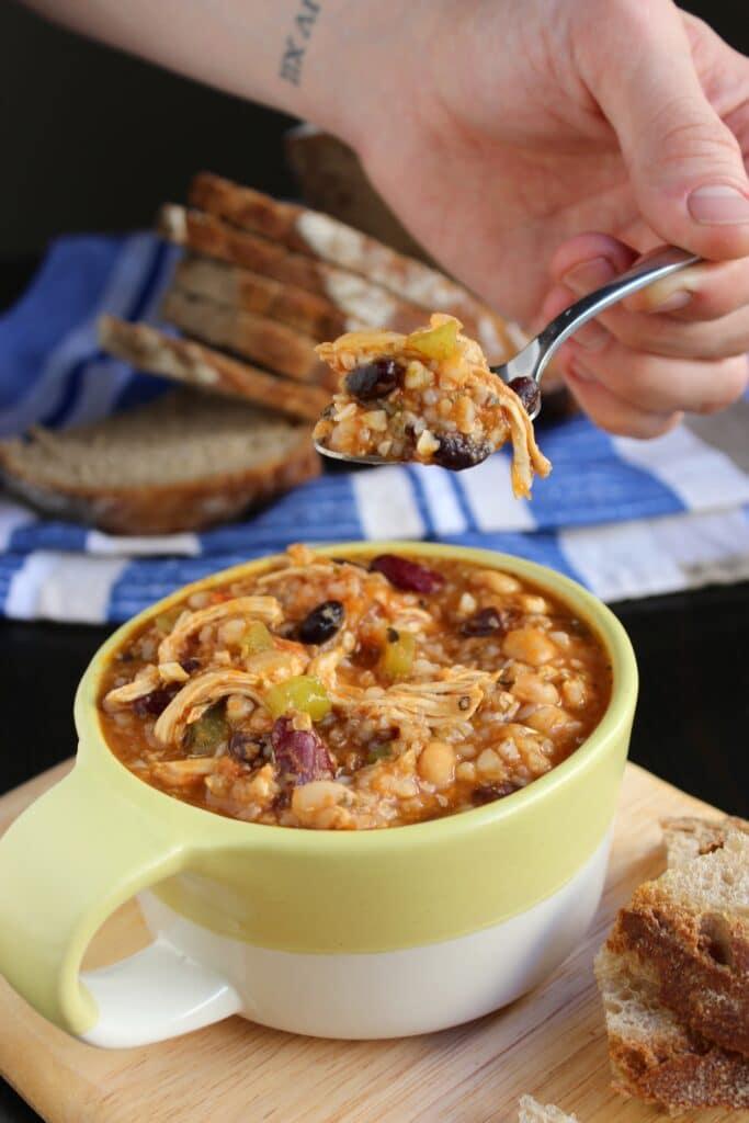Italian Chicken Chili on Spoon