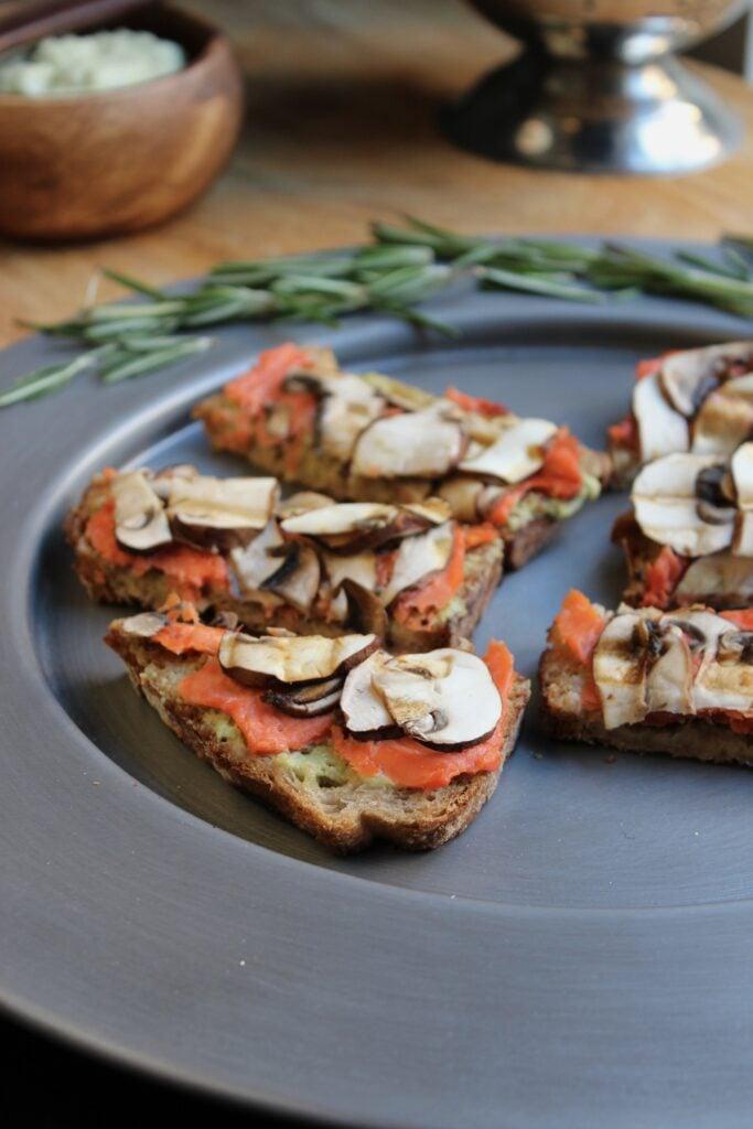 Salmon Mushroom Tartines with Basil Avocado Mayo with Rosemary