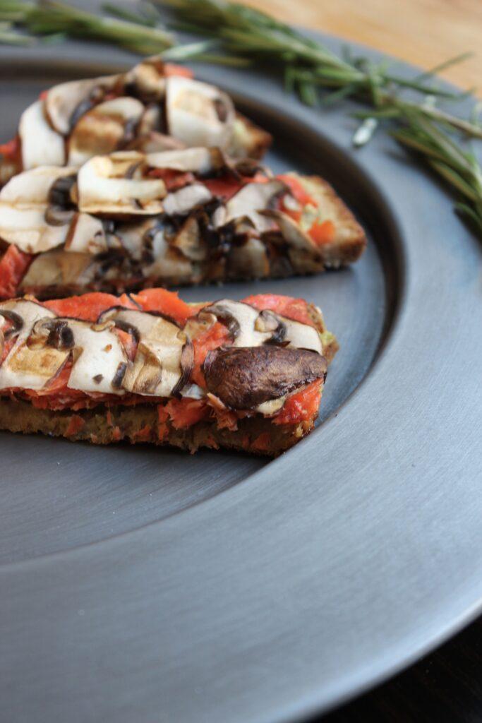 3 Salmon Mushroom Tartines with Basil Avocado Mayo
