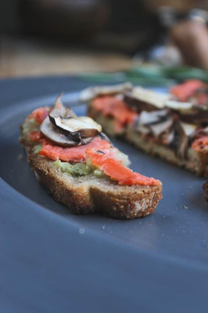 Salmon Mushroom Tartines with Basil Avocado Mayo on Plate