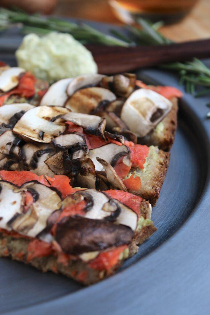 Salmon Mushroom Tartines with Basil Avocado Mayo Close up