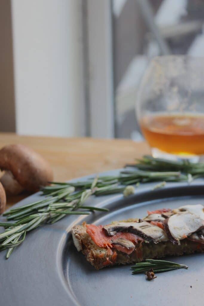 Salmon Mushroom Tartines with Basil Avocado Mayo Rosemary