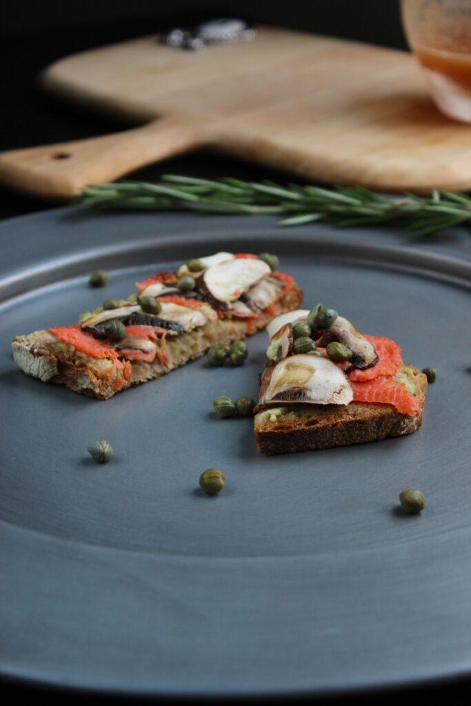 2 Slices of Salmon Mushroom Tartines with Basil Avocado Mayo