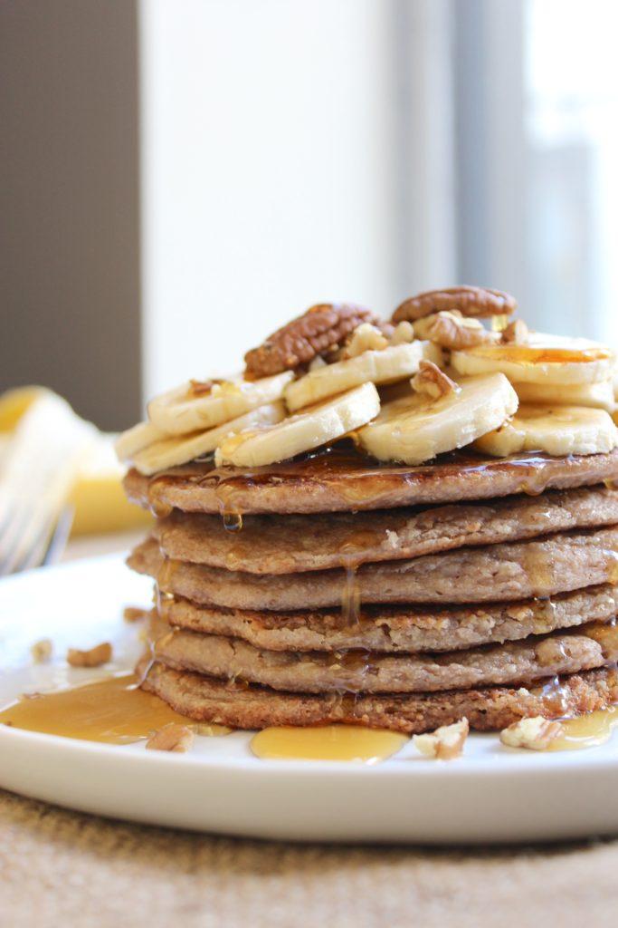 Banana Pecan Pancakes on Plate