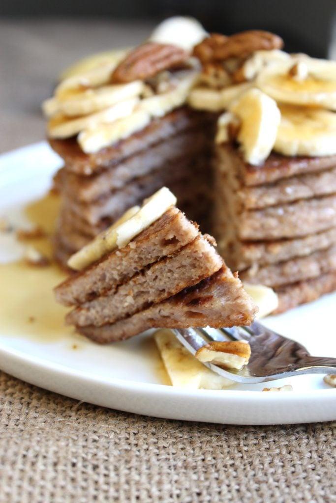 Banana Pecan Pancakes on Fork