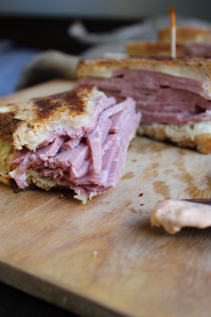 Black Truffle Reuben Sandwich on Chopping Board