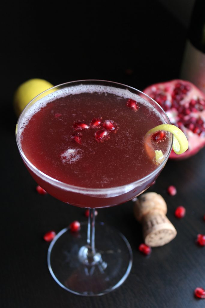 Pomegranate French 75 Glass Cork Lemon