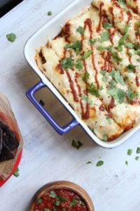 Chicken and Roasted Pepper Enchiladas with Creamy Cauliflower Sauce