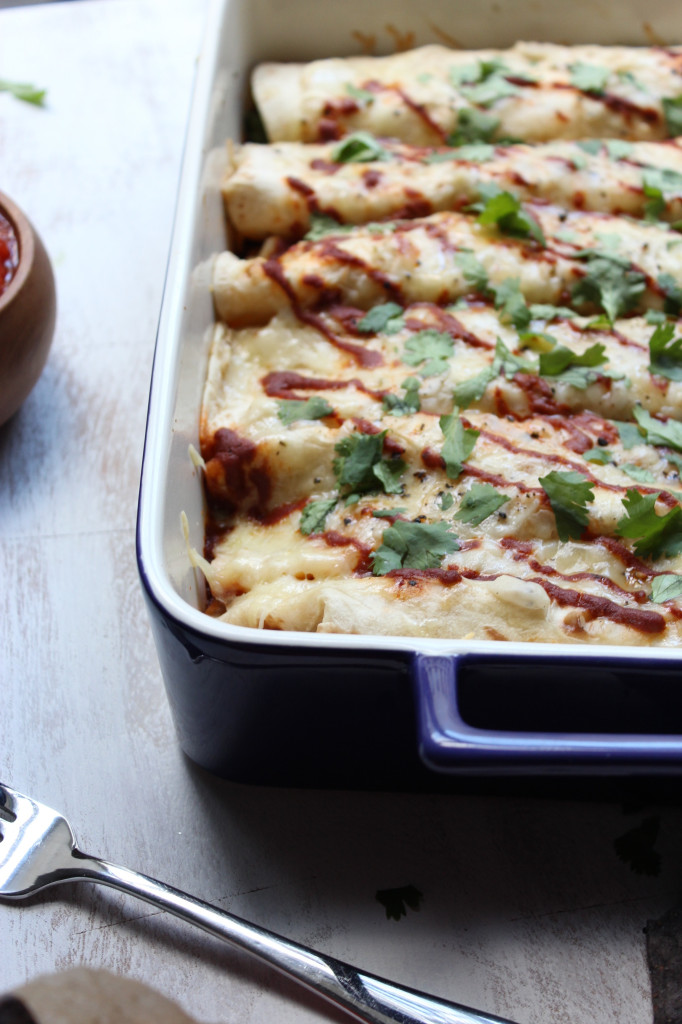 Chicken and Roasted Pepper Enchiladas with Creamy Cauliflower Sauce