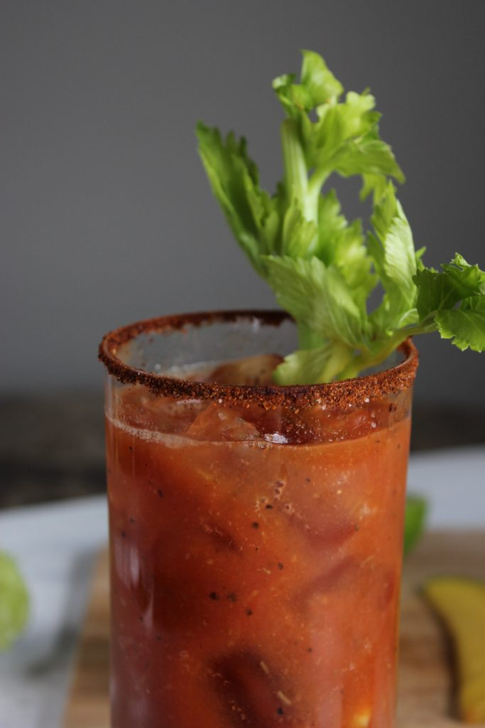 Chili Mango Bloody Mary in Glass Close up