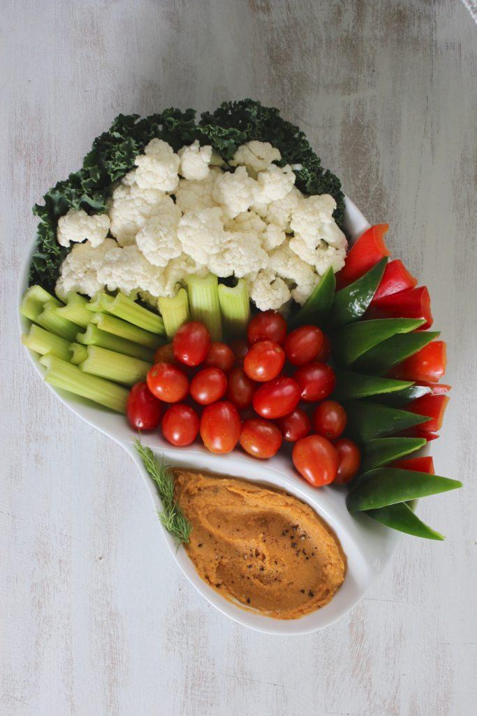 Chipotle Sweet Potato Hummus with Salad