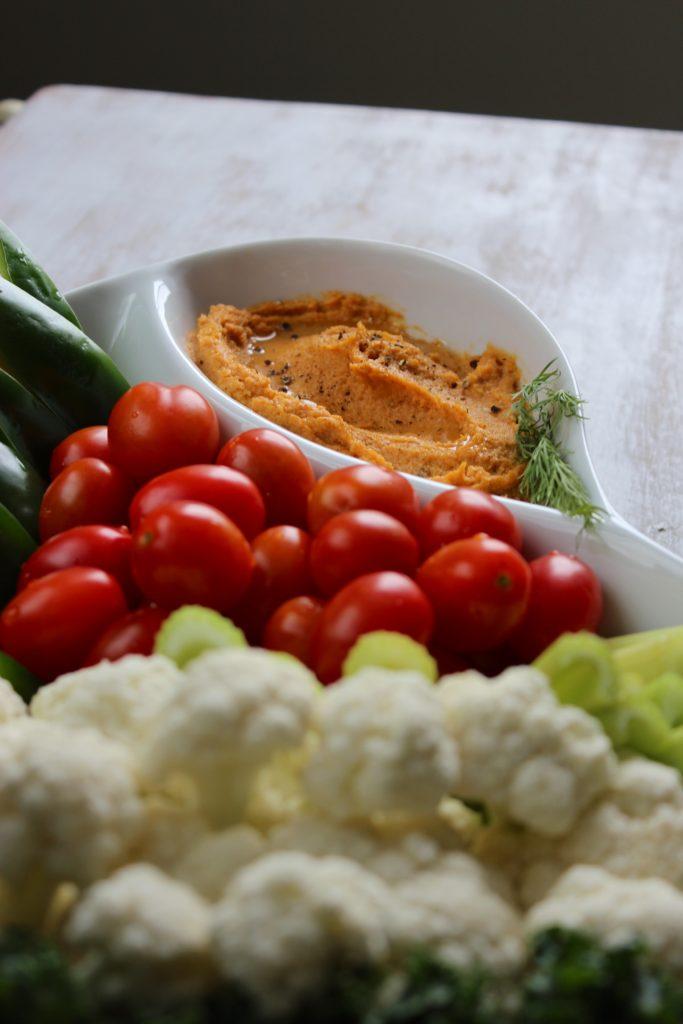 Chipotle Sweet Potato Hummus Tomatoes
