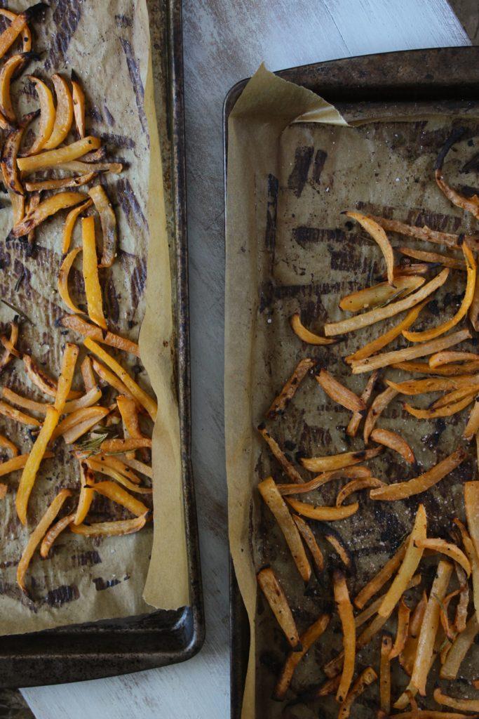 Rosemary Lemon Garlic Rutabaga Fries on Oven Tray