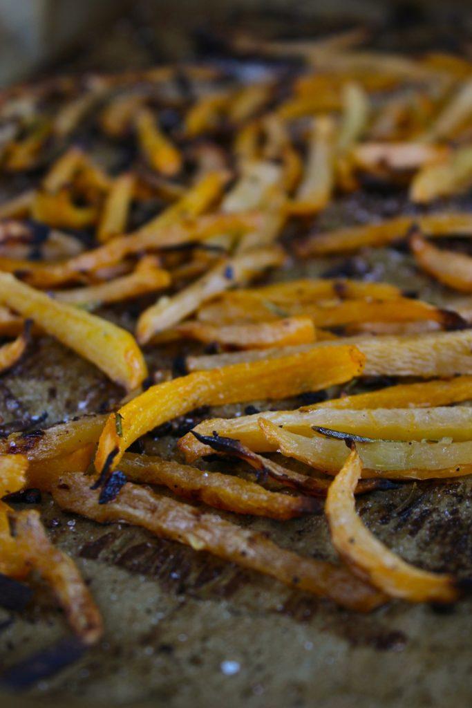 Rosemary Lemon Garlic Rutabaga Fries Close up