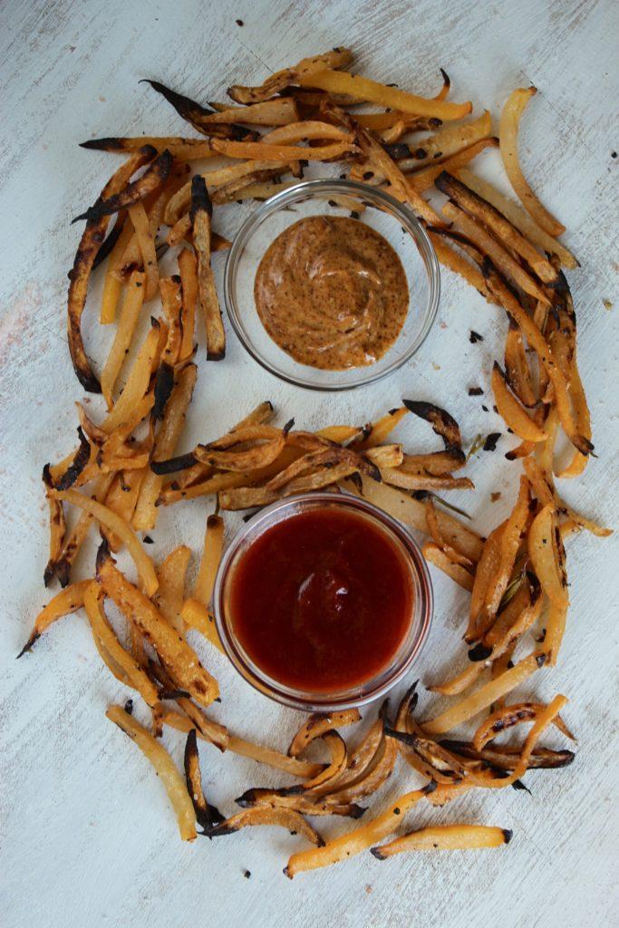 Rosemary Lemon Garlic Rutabaga Fries and Dips