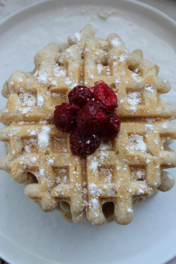 Vegan Gluten Free Waffles with Raspberry Lemon Syrup on Plate