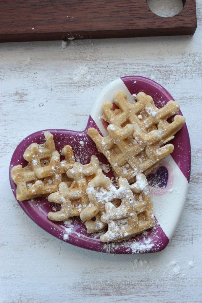 Vegan Gluten Free Waffles in Heart shaped Bowl
