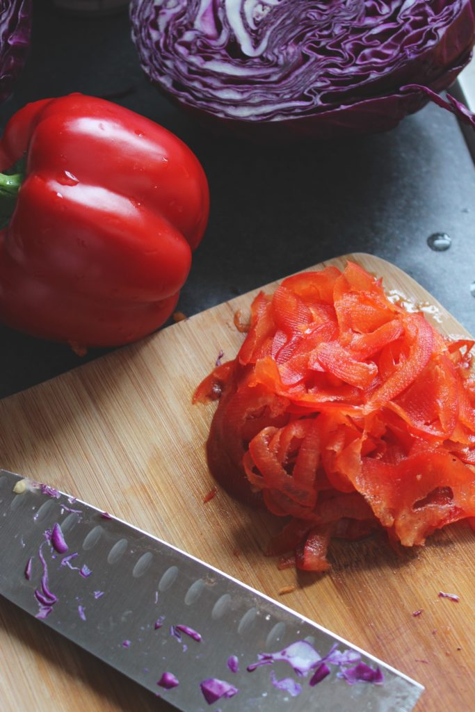 Red Peppers Knife Chopping Board
