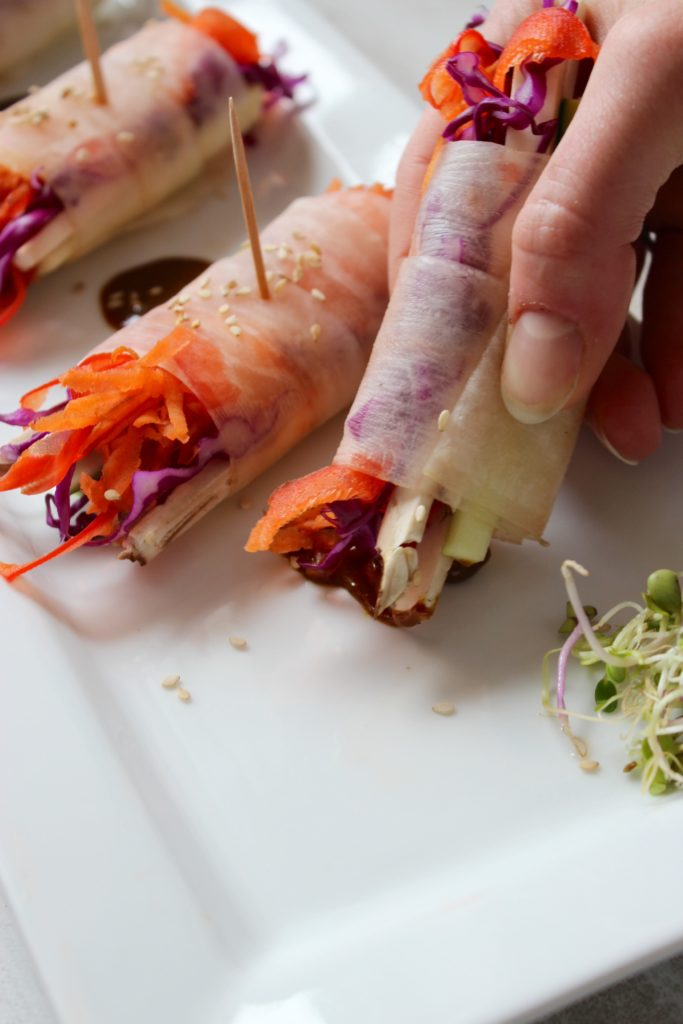 Hand Holding Veggie Spring Rolls with Spicy Coconut Curry Sauce