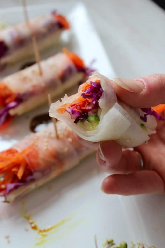 Veggie Spring Rolls with Spicy Coconut Curry Sauce in Hand