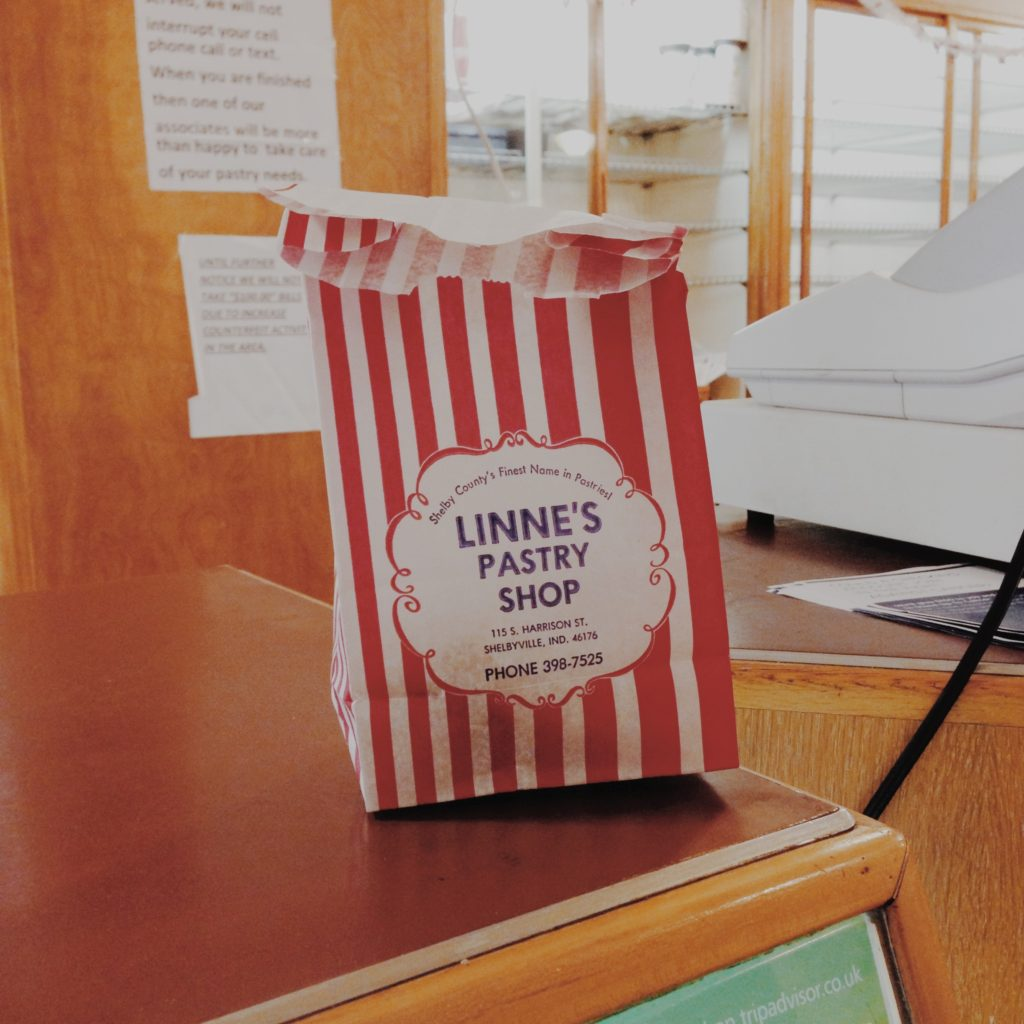 Linnies Pastry Shop Paper Bag on Table