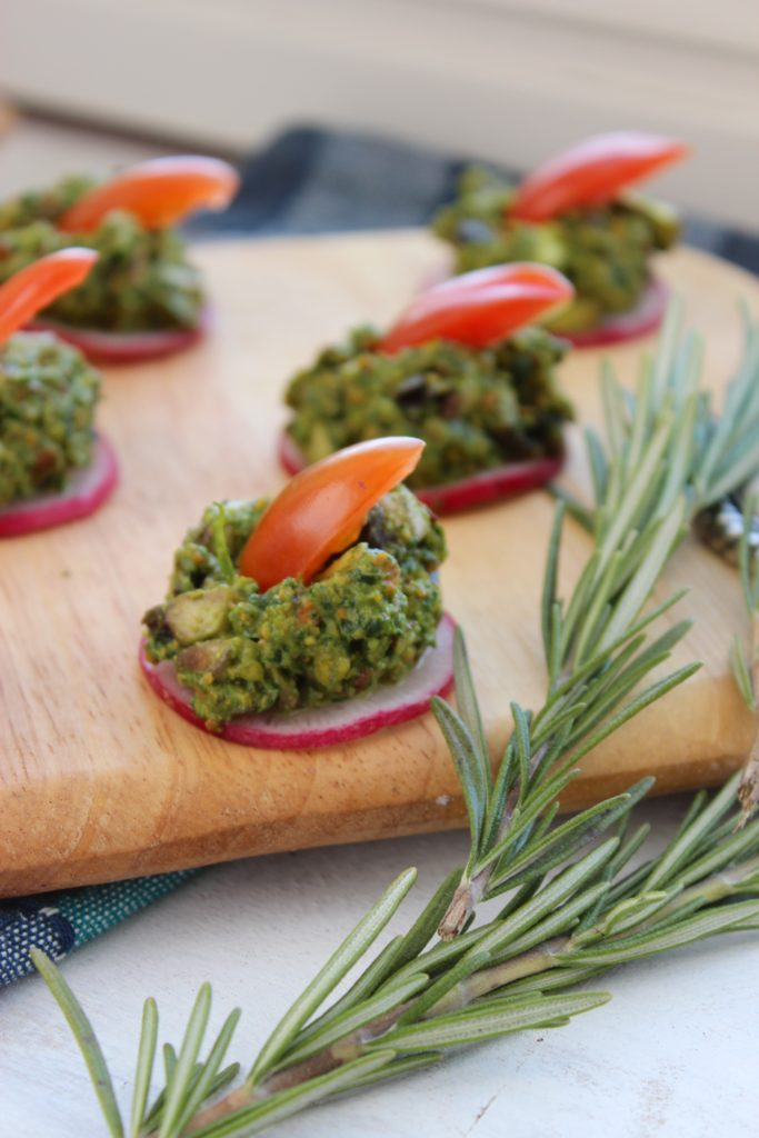 Pistachio Pesto Canapés with Rosemary