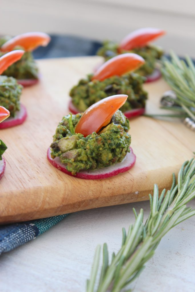 Pistachio Pesto Canapés on Board with Rosemary