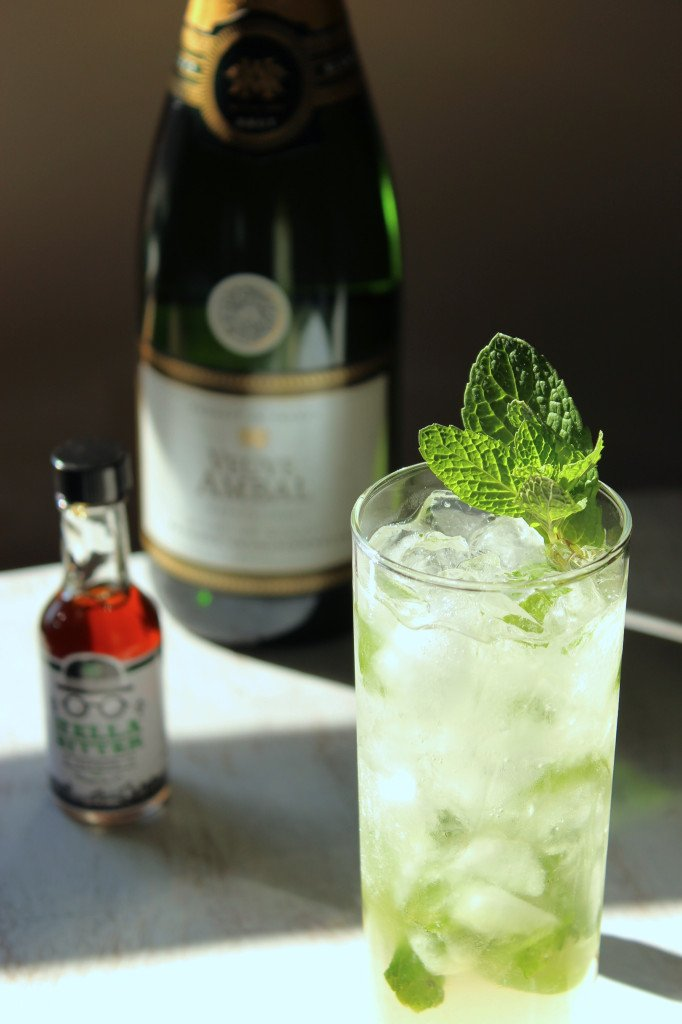 The Three-Twenty | A spring cocktail featuring sparkling white wine, Hendrick's gin, Hella Bitter Citrus Bitters, fresh lime and mint