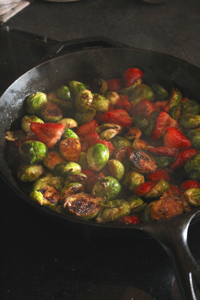 Sautéed Balsamic Brussels Sprouts and Strawberries