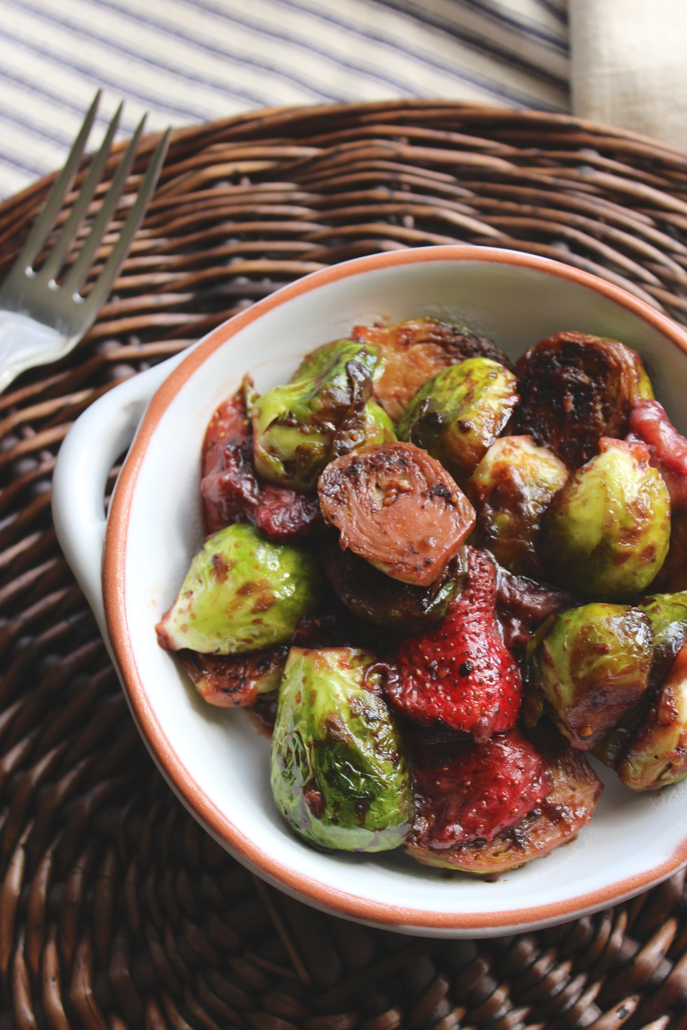 Balsamic Roasted Brussels Sprouts with Strawberries