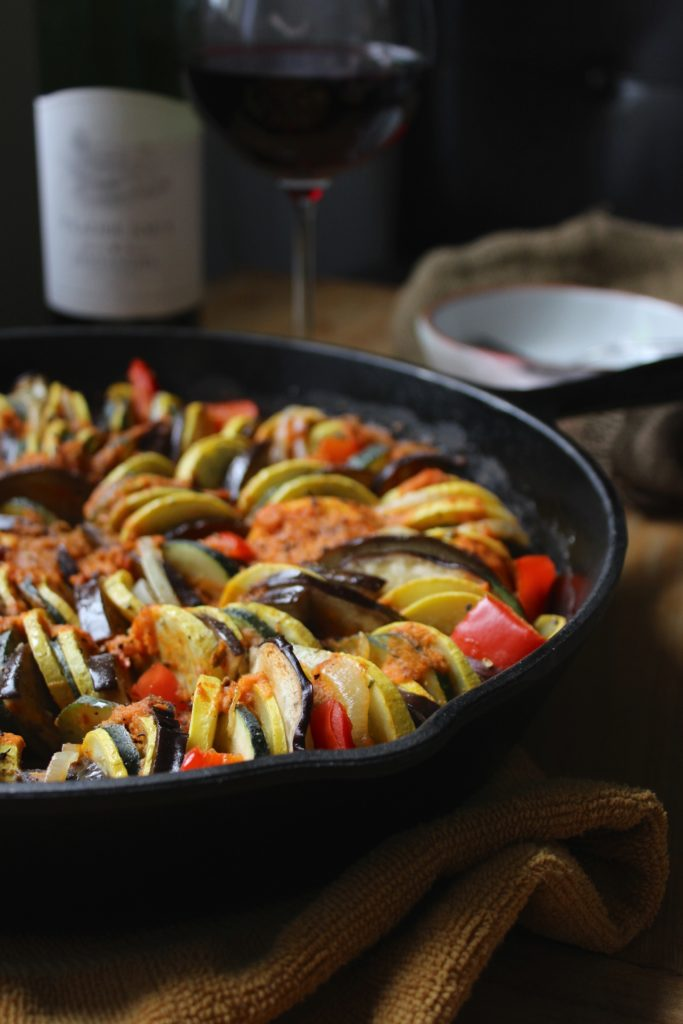 Simple Cast Iron Skillet Ratatouille Wine Bottle and Glass