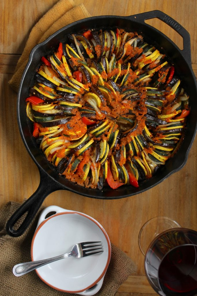 Simple Cast Iron Skillet Ratatouille Fork and Plate