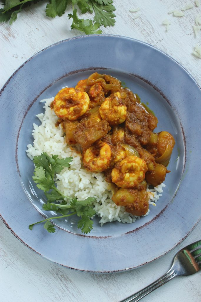Spicy Shrimp Vindaloo with Rice on plate